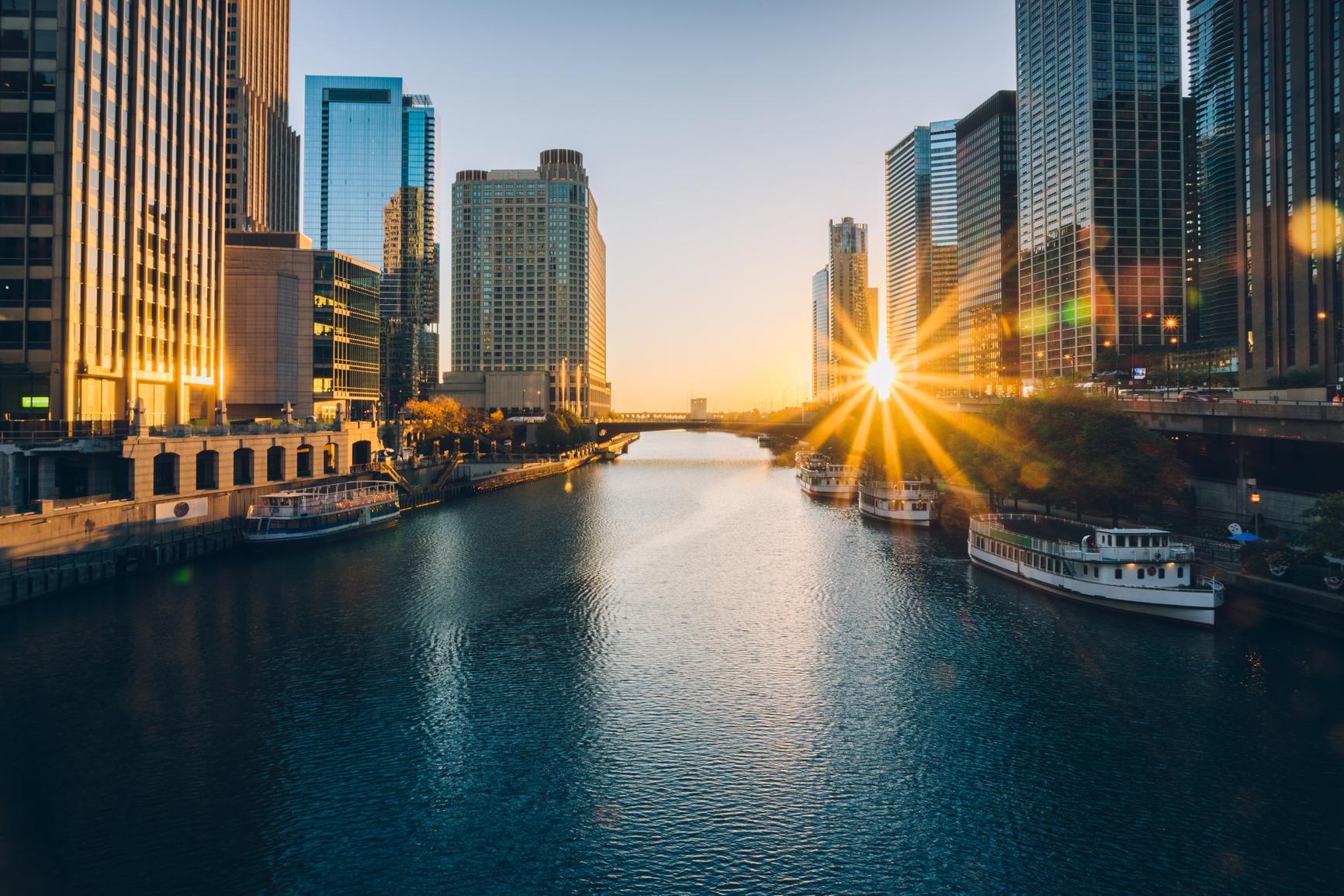 Sunrise through the city of chicago