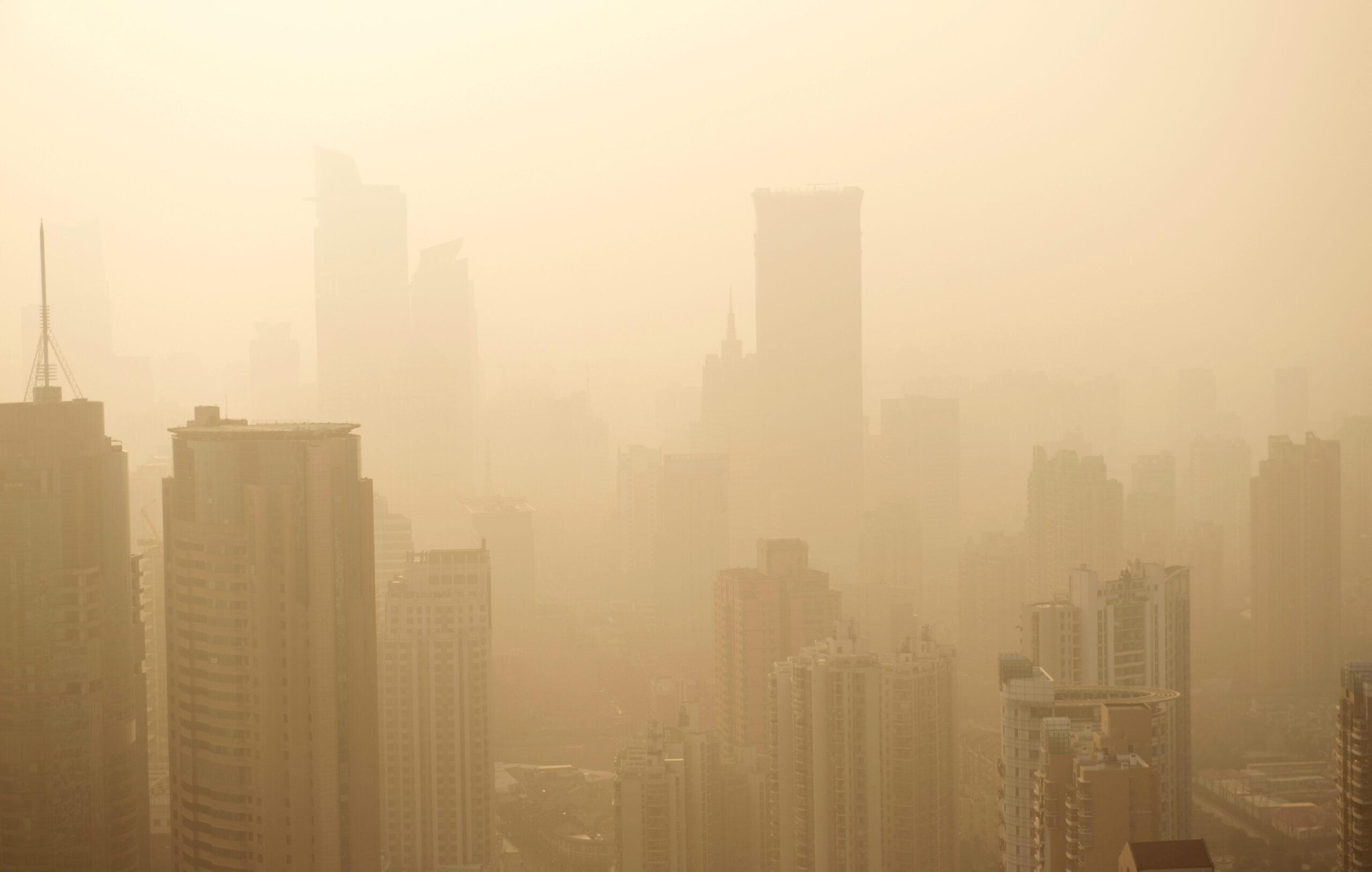 Hazy Orange Polluted City Skyline