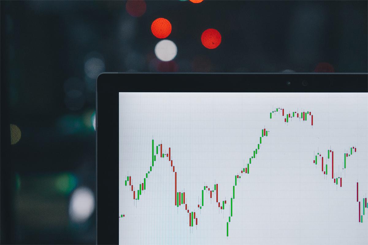 Trade market graph on computer screen