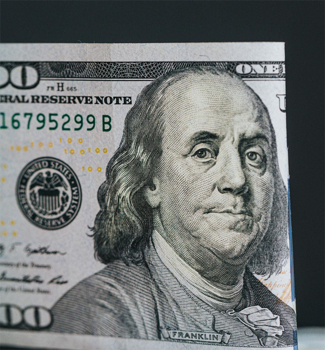 Close up of $100 bill
